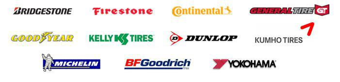 We carry products from Bridgestone, Firestone, Continental, General, Goodyear, Kelly, Dunlop, Kumho, Michelin®, BFGoodrich®, and Yokohama.
