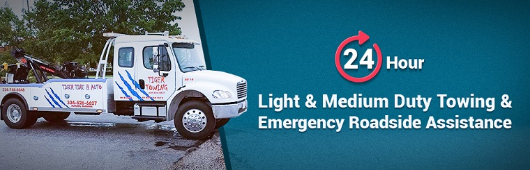 We offer 24-hour light and medium duty towing and emergency roadside assistance! Contact us for details.