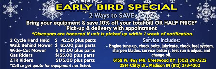 Early Bird Special - Winter Equipment Maintenance