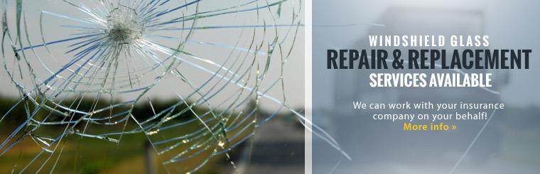 Windshield glass repair and replacement services are available. We can work with your insurance company on your behalf! Click here for more information.
