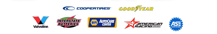 We carry products from Cooper Tires, Goodyear, Valvoline, Interstate Batteries, NAPA, and American Racing. We are ASE certified.