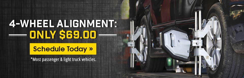 Get a 4-wheel alignment for only $69.00! Schedule your appointment today!