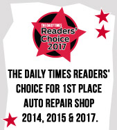 The Daily Times Readers' Choice for 1st Place Auto Repair Shop 2014, 2015 & 2017.