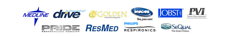 We carry products from Medline, Drive, Golden Technologies, Invacare, JOBST, Prairie View Industries, Pride, ResMed, Respironics, and SeQual.