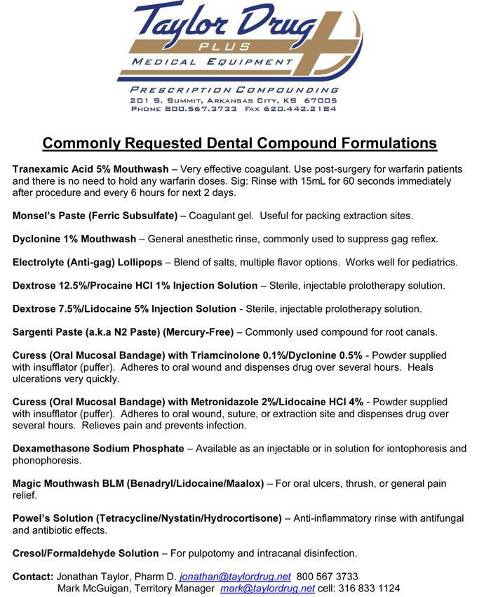 Commonly Requested Dental Compound Formulations