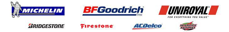 We carry Michelin®, BFGoodrich®, Uniroyal®, Bridgestone, Firestone, ACDelco, and Interstate Battery.