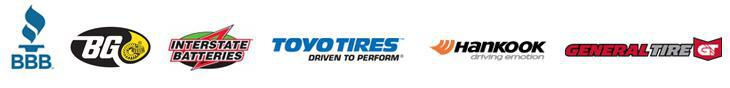 BBB. BG. Interstate Batteries, We carry products from Toyo, Hankook, and General.