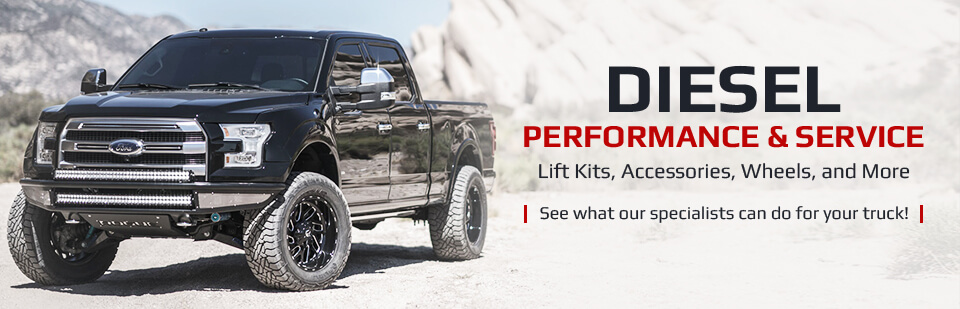 Diesel Performance & Service: We offer lift kits, accessories, wheels, and more! See what our specialists can do for your truck!