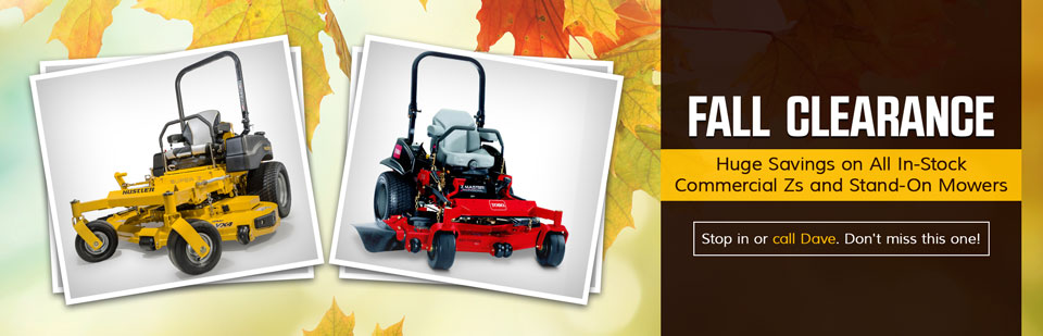Fall Clearance: Take advantage of huge savings on all in-stock commercial Zs and stand-on mowers.