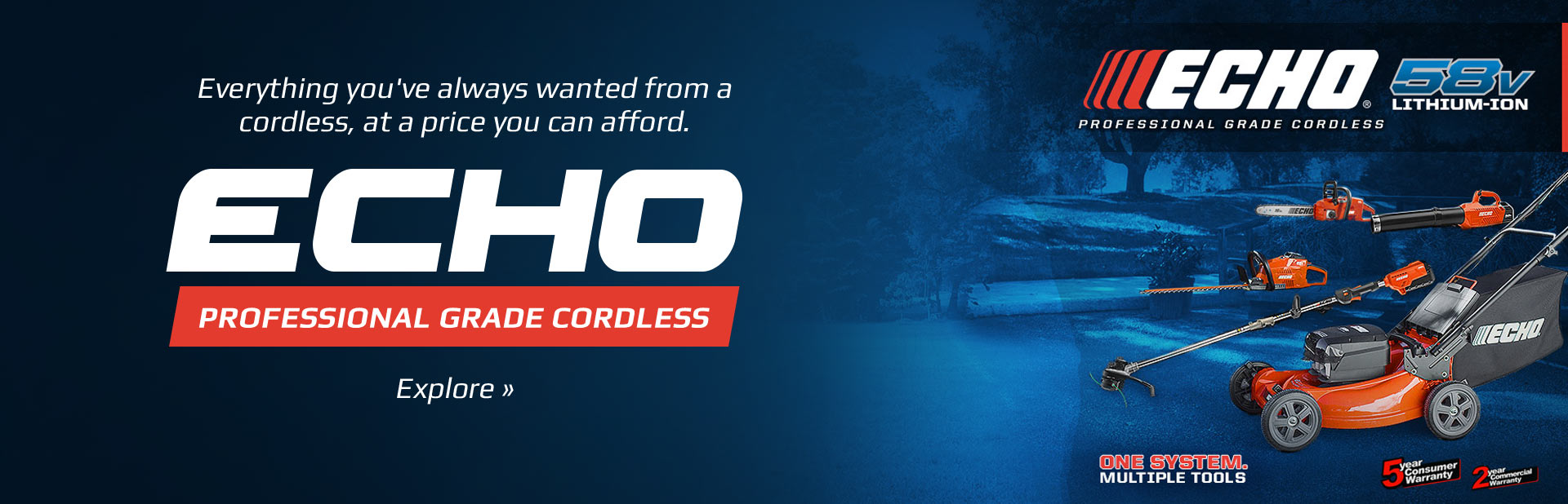 ECHO Professional Grade Cordless: Everything you've always wanted from a cordless, at a price you can afford.