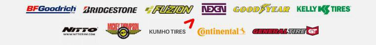We carry products from BFGoodrich®, Bridgestone, Fuzion, Nexen, Goodyear, Kelly, Nitto, Mickey Thompson, Kumho, Continental, and General.