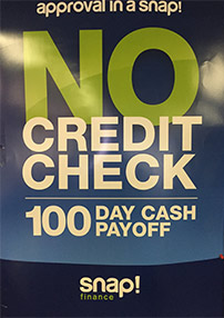 Snap Finance. No Credit Check. 100 Day Cash Payoff.