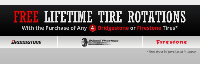 Get free lifetime tire rotations with the in-house purchase of any 4 Bridgestone or Firestone tires! Click here to shop.