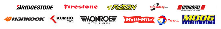 We carry products from Bridgestone, Firestone, Fuzion, Uniroyal®, Hankook, Kumho, Monroe, Multi-Mile, Total Oil, and Moog.