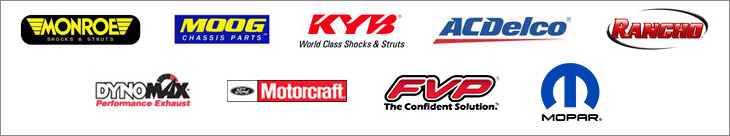 We proudly carry products from Monroe, Moog, KYB, ACDelco, Rancho, Dyno Max, Motorcraft, FVP, and Mopar.