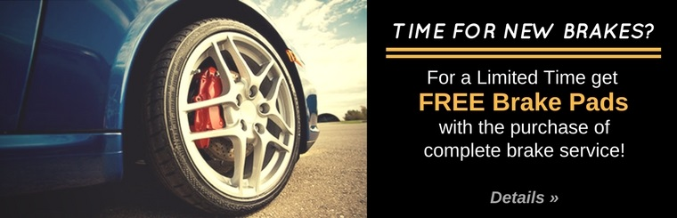 For a limited time get free brake pads with the purchase of complete brake service! Click here for details.