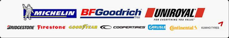 We proudly offer products from Michelin®, BFGoodrich®, Uniroyal®, Goodyear, Bridgestone, Firestone, Cooper, Continental, Kumho and Carlisle.