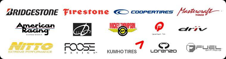 We offer products from brands such as Bridgestone, Firestone, Mastercraft, Coopertires, American Racing, Delta, Mickey Thompson, Quantum Tek, Driv, Nitto, Foose, Kumho, Fuel Wheels, and Lorenzo.