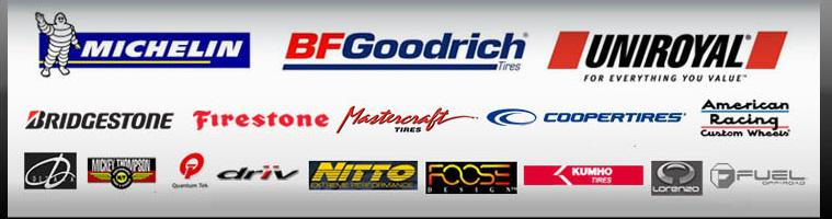 We offer products from brands such as Michelin®, BFGoodrich®, Uniroyal®, Bridgestone, Firestone, Mastercraft, Coopertires, American Racing, Delta, Mickey Thompson, Quantum Tek, Driv, Nitto, Foose, Kumho, Fuel Wheels, and Lorenzo.