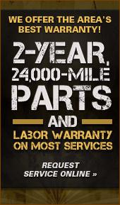We offer the area's best warranty! 2-year, 24,000 mile parts and labor warranty on most services. Click here to request service online.