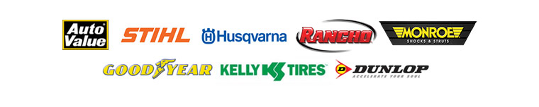 We carry products from Auto Value, STIHL, Husqvarna, Goodyear, Kelly, and Dunlop.