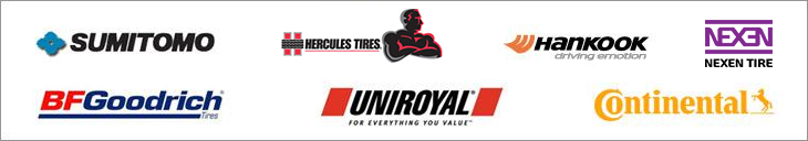 We carry products from Sumitomo, Hercules, Hankook,Nexen, BFGoodrich®, Uniroyal®, and Continental.