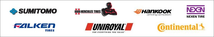 We carry products from Sumitomo, Hercules, Hankook,Nexen, Falken Tires, Uniroyal®, and Continental.