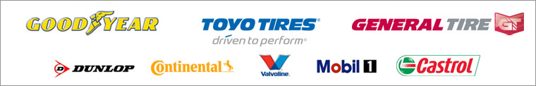 We carry products from Goodyear, Toyo, General, Dunlop, Continental, Valvoline, Mobil 1, and Castrol.