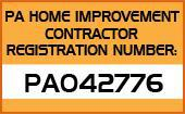 PA Home Improvement Contractor Registration Number: PA042776