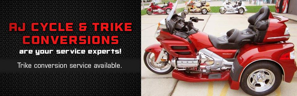AJ Cycle & Trike Conversions are your service experts, with trike conversion service available! Click here to view a list of services.