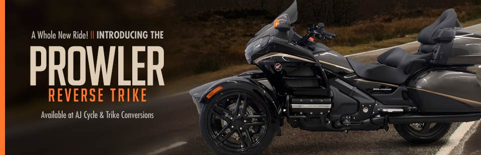 The Prowler reverse trike is available at AJ Cycle & Trike Conversions!