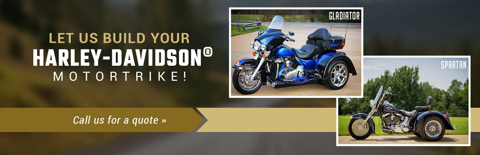 Let us build your Harley-Davidson® motortrike! Call (812) 482-3366 for a quote.