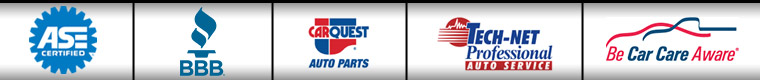 We are ASE certified. We are affiliated with BBB, TECH-NET, and Be Car Care Aware. We carry products from CARQUEST.