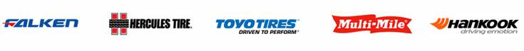 We proudly carry products from Falken, Hercules, Toyo, Multi-Mile, and Hankook.