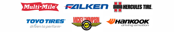 We proudly carry products from Multi-Mile, Falken, Hercules, Toyo, Mickey Thompson, and Hankook.
