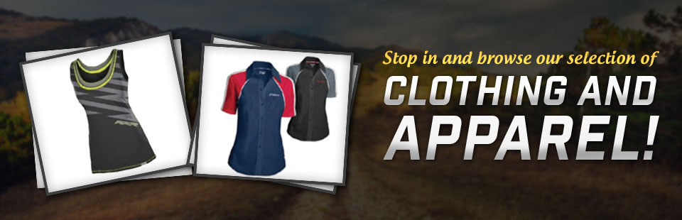 Stop in and browse our selection of clothing and apparel! Click here to shop online.