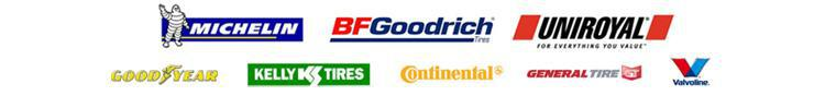 We carry products from Michelin®, BFGoodrich®, Uniroyal®, Goodyear, Kelly, Continental, General, and Valvoline.