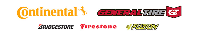 We carry brands from Continental, General, Bridgestone, Firestone, Fuzion.