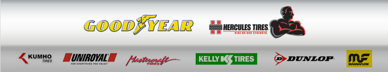 We proudly carry products from Goodyear, Kelly, Dunlop, Hercules, Kumho, Uniroyal®, Mastercraft, Nexen, and Magnaflow.