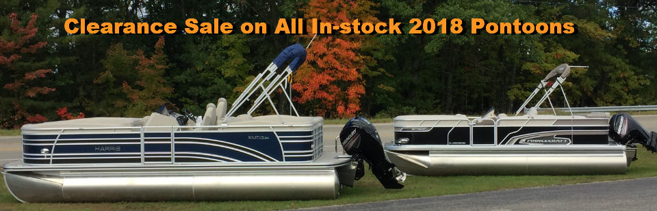 Fall sale on all remaining 2018 pontoons form Harris and Princecraft.