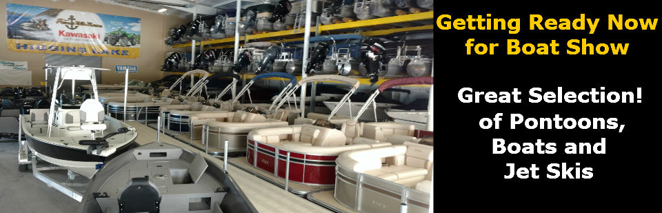 All of our pontoons, boats and Jet Ski are now on inside display.
