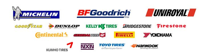 We carry products from Michelin®, BFGoodrich®, Uniroyal®, Goodyear, Dunlop, Yokohama, Kelly, Bridgestone, Firestone, Continental, General, Pirelli, Yokohama, Kumho, Nexen, Toyo, and Hankook.
