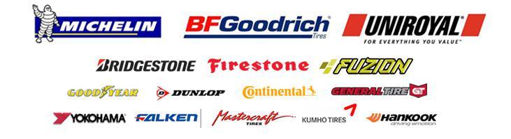 We proudly carry tires from Michelin®, BFGoodrich®, Uniroyal®, Bridgestone, Firestone, Fuzion, Goodyear, Dunlop, Continental, General Tire, Yokohama, Falken, Mastercraft, Kumho, and Hankook.