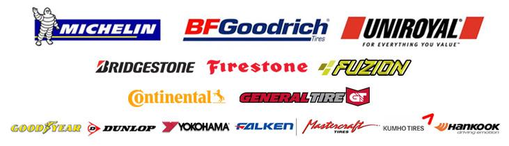 We proudly carry tires from Michelin®, BFGoodrich®, Uniroyal®, Bridgestone, Firestone, Fuzion, Continental, General Tire, Goodyear, Dunlop, Yokohama, Falken, Mastercraft, Kumho, and Hankook.