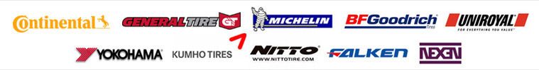 We carry products from Continental, General, Michelin®, BFGoodrich®, Uniroyal®, Yokohama, Kumho, Nitto, Falken, and Nexen.