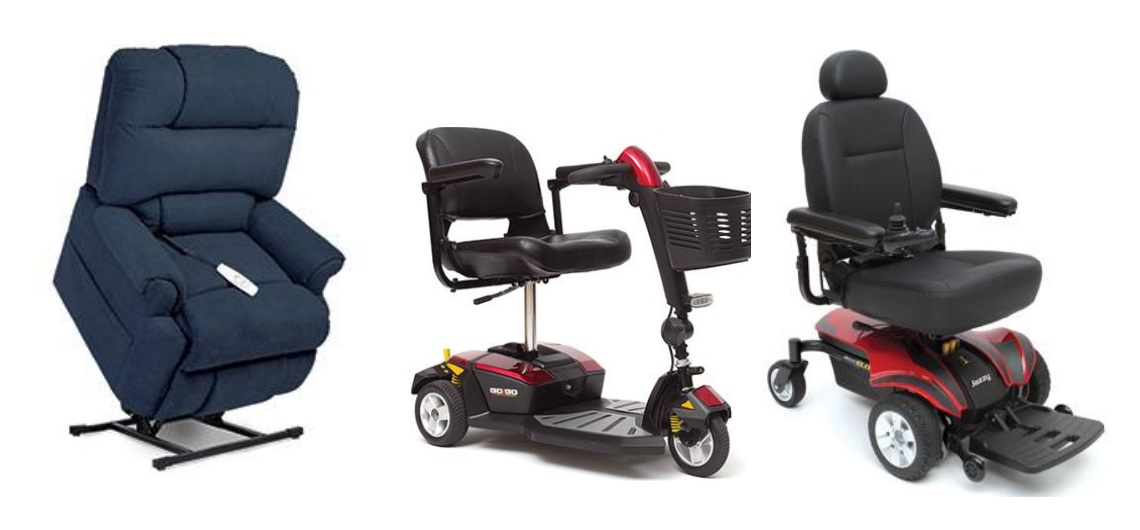 a chair, a scooter and a pride wheelchair