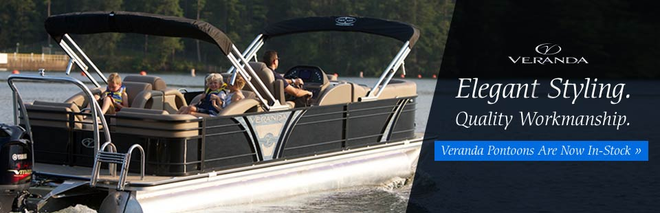 The elegant style and quality workmanship of Veranda Pontoons are now available! Click here to see what we have in-stock.