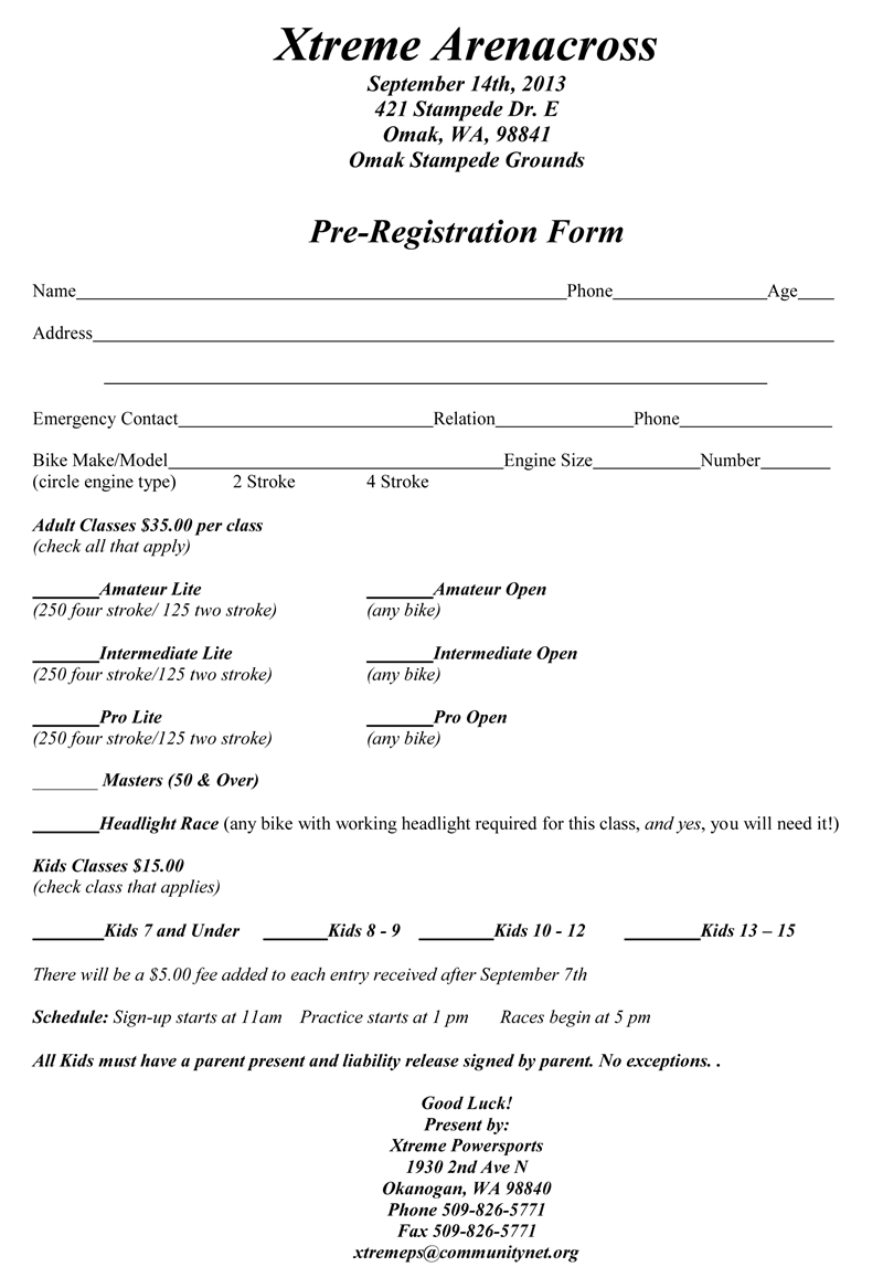 Arenacross Entry Form 2013