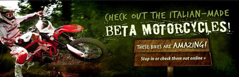 Stop in or click here to check out the Italian-made Beta Motorcycles!