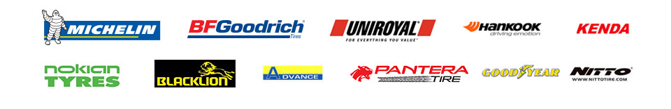 We carry products from Michelin®, BFGoodrich®, Uniroyal®, Hankook, Kenda, Nokian Tyres, Black Lion, Advance, Pantera Tire, Goodyear, and Nitto.